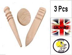 3pcs Wood Edge Slicker Multi-Size Burnisher Leather Craft Working Hand Tool UK