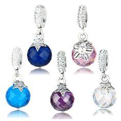 100% Real 925 Sterling Silver Moon & estrela charme Blue Crystal Fit pulseira Original pingente autêntica mesmo presente da jóia