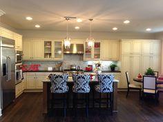 White kitchen/ dark floors