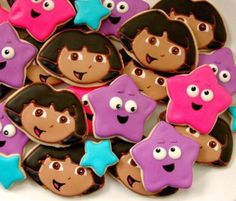 12 DORA THE EXPLORER inspired vanilla sugar cookies - STar themed cookies - birthday party - favors - gift - Dora cookies