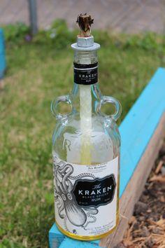 The Kraken Black Spiced Rumble Lamp Light Gift Bottle Craft Upcycle display