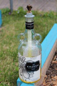 DIY liquor bottle tiki lanterns