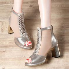 648cf17335eaef Shoespie Classy Rhinestone Open Toe Chunky Heel Sandal Ankle Boots Pump  Shoes