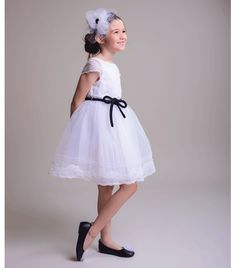 Innocence White Dress with Black Velvet Belt Organza Dress, Tulle, Velvet Bow Tie, Sleeve Designs, Black Velvet, White Dress, Flower Girl Dresses, Belt, Wedding Dresses