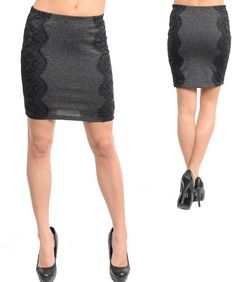 G2 Fashion Square Elastic Waistband Fitted Lace Skirt $13.93