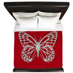 Silver Grey Butterfly Red King Duvet on CafePress.com