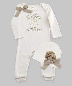 609601779a1f Loving this Ivory  Baby Sister  Linen Bow Playsuit  amp  Floral Beanie -  Infant. Newborn ...