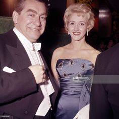 Tony Hancock with Liz Fraser at the premiere of The Guns of Navarone.  Odeon Cinema, Leicester Square, London, 27th April 1961.