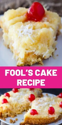 Fool's Cake Recipe. A simple, fool-proof cake everyone loves! This yummy dessert has layers of walnuts, yellow cake, coconut and pineapple. Perfect for potlucks! Homemade Cake Recipes, Dessert Recipes, Easy Desserts, Delicious Desserts, Yummy Food, Lemon And Coconut Cake, Just Cakes, Coconut Recipes, Deserts