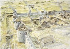 inch Canvas Print (other products available) - PORTCHESTER CASTLE, Hampshire. Reconstruction drawing of Saxon settlement of late century by Peter Dunn, English Heritage Graphics Team. - Image supplied by Historic England - Box Canvas Print made in the USA Anglo Saxon History, British History, Poster Prints, Framed Prints, Canvas Prints, Primary History, Castle Illustration, Roman Britain, Vikings