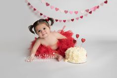 Valentine's Day first birthday cake smash ideas for your baby  |  Nicole Starr Photography, Saratoga Springs  & Boston baby photographer