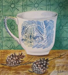 Emily Sutton. Cup with deer and pinecones Inspirational Artwork, Naive Art, Art Sketchbook, Cute Art, Painting Prints, Kitchen Stories, British Artists, China Mugs, Graphic Illustration