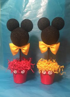 Mickey Mouse inspired Centerpiece, Mickey Birthday party, Mickey party decoration, Mickey baby shower Etsy :: Your place to buy and sell all things handmade Baby Mickey, Mickey 1st Birthdays, Mickey Mouse First Birthday, Mickey Mouse Baby Shower, Mickey Mouse Clubhouse Birthday Party, 2nd Birthday, Birthday Ideas, Princess Birthday, Mickey Mouse Birthday Decorations