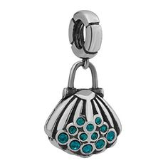 Blue Crystal Cz Seashell Dangle Spacer Beads 925 Sterling Silver Fit Pandora Charms -- Check out the image by visiting the link.