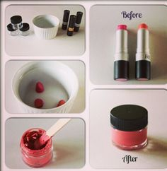 Homemade Lipcolor! You'll Need: 2 or more lipsticks (I like New York Color 417 Flirty and 407 Smooch) A small microwave safe dish Plastic lip gloss containers with lids Step 1 - Cut the lipstick into your dish (Start with just the tip of each and see what color you create you can always add more of whichever color is needed) Step 2 - Microwave on high for 15-30 seconds (depending on the wattage of your microwave you may need to do it for longer) Step 3 - Stir to blend the colors together (at…