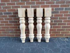 Unfinished Farmhouse Dining Table Legs- Wood Legs. Turned Legs. Hardwood. Chunky. Wide Legs. Large!