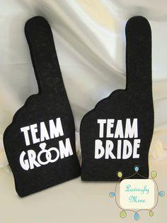 Photobooth Props - Charcoal Black Team Bride & Team Groom Foam Fingers by LovinglyMine on Etsy https://www.etsy.com/listing/92701527/photobooth-props-charcoal-black-team