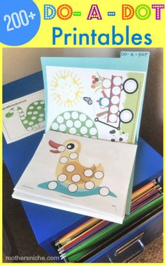 DO A DOT PRINTABLES: This blogger shows you something new every Monday to print out and file away for the next time you need a quick activity for the kids. #toddlers