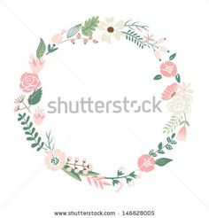 Floral Frame. Cute retro flowers arranged un a shape of the wreath perfect for wedding invitations and birthday cards  by alicedaniel, via S...