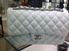 Chanel Light Blue Patent Classic Medium Flap Bag