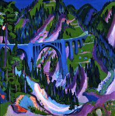 Bridge at Wiesen (Ernst Ludwig Kirchner - 1926) oil on canvas, 119 cm (46.85 in.), Width: 120 cm (47.24 in.)