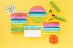 Bright watercolor wedding invitations from Wedding Paper Divas! // sponsored