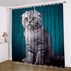 Cat Pattern Window Curtain blackout curtain insulation curtain custom curtain #Handmade #Modern