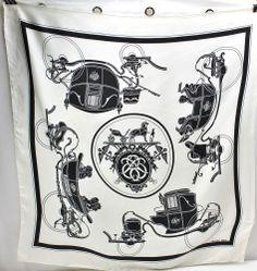 Hermes RARE vintage Black & White Horse Carriage Coach Silk Scarf Paris