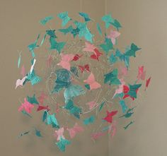 Teal,Hot Pink,Pink and Teal Feathered Butterfly by ButterflyOrb Mobile