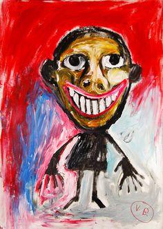 """""""Me perdí en mí misma"""" de Victoria Barranco @  -VirtualGallery.com - Pintura acrílica sobre cartón de 50x70 cm (19.7x27.6 in). Arte marginal. Retrato de una niña sonriendo. (2015)"""