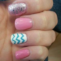 Pink glitter chevron nails