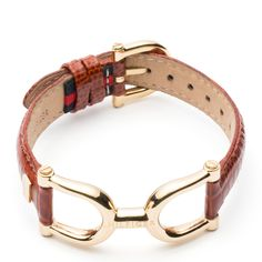 Eye-catching Mariner link bracelet with yellow gold plated stainless steel hardware and a burgundy leather strap makes for a sophisticated favourite in your jewellery box.