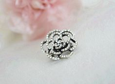 rose brooch rhinestone art deco clear crystal swarovski mothers day gift ideas tibetan silver plated jewelry gift accessories on Etsy, 39,90$