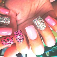Pink, Animal Print, & Jeweled Nail Designs