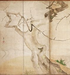 Detail. A budding plum tree. Ogata Kōrin1658-1868. Japanese folding screen. From the collection of Freer and Sackler Galleries