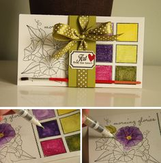 Great creative gift- everything you need is watercolour pencils or crayons and stamped images