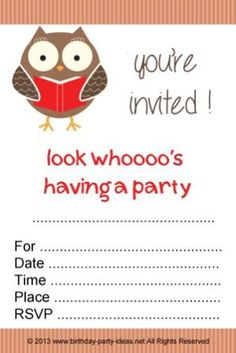 Intellectual Birthday Party Themes Owl Invitation Free