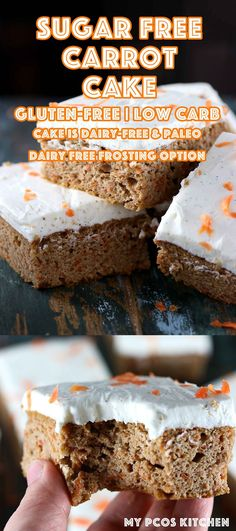 Sugar Free Carrot Cake - My PCOS Kitchen - A delicious keto and paleo carrot cake that is completely gluten-free and dairy-free! #carrotcake #paleo #keto #lowcarb #glutenfree #sugarfreecake via @mypcoskitchen