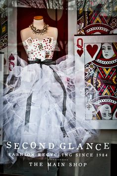 Tulle dress with playing card bodice - neat Valentine display.