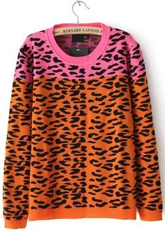 To find out about the Pink and Orange Leoprad Print Round Neck Sweater at SHEIN, part of our latest Sweaters ready to shop online today! Warm Sweaters, Sweater Coats, Pullover Sweaters, Sweaters For Women, Cardigans, Womens Fashion Stores, Online Fashion Stores, Latest Street Fashion, Korean Fashion