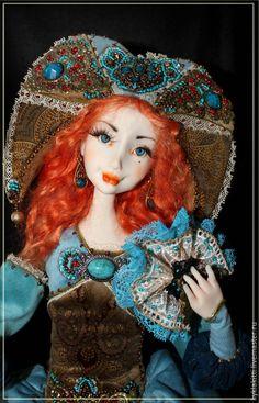 Купить Марионетка - разноцветный, коломбина, марионетка, миниатюра, миниатюра из пластики, интерьерная кукла, рыжая кукла