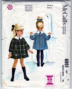 Vintage 1963 McCall's 6951 Sewing Pattern Girl's Dress Size 2. $8.00, via Etsy.