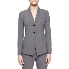 Armani Collezioni Two-Button Collarless Blazer ($349) ❤ liked on Polyvore featuring outerwear, jackets, blazers, cloud multi, two button blazer, blazer jacket, long sleeve blazer, two-button jacket and collarless jackets