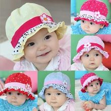 7c91b4d53a9 Baby Girls Sun Flower Polka Dot Hearts Summer Hat Cap 3-24 Months Kids Girls