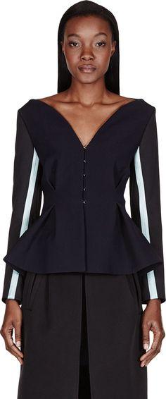 ROKSANDA Dark Navy Contrast-Sleeved Selby Jacket. #roksanda #cloth #jacket