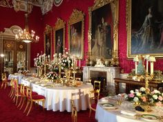 The State Dining Room, Buckingham Palace. Crimson silk damask in an adapted late 17th Century design for chair seats centres. www.humphriesweaving.co.uk