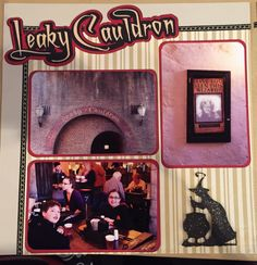 Wizarding world of harry potter, leaky cauldron, scrapbook layout, left pag