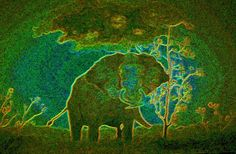 Elephant abstract Painting  - Elephant abstract Fine Art Print