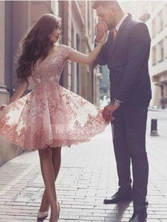 Sparkly Prom Dress, off shoulder short sleeves mini blush lace homecoming dress with appliques , These 2020 prom dresses include everything from sophisticated long prom gowns to short party dresses for prom. Short Sleeve Prom Dresses, Cute Homecoming Dresses, Hoco Dresses, Tulle Prom Dress, Dance Dresses, Pretty Dresses, Beautiful Dresses, Lace Dress, Evening Dresses