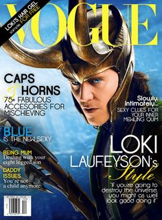 """Fake Loki VOGUE Magazine Cover  """"If you're going to destroy the universe, you might as well look good doing it""""    Follow the real fandom magazine project!!!  http://hiddlestoned-magazine.tumblr.com/"""